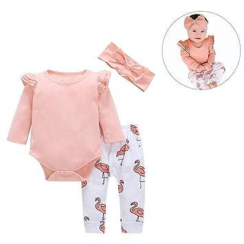Conjunto de 3 piezas de trajes de bebé rosa con volantes de ...