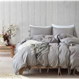 CoutureBridal Washed Cotton Duvet Cover Queen 90x90 Light Grey Solid Ties Chic Natural Wrinkled Look Modern Bedding Set