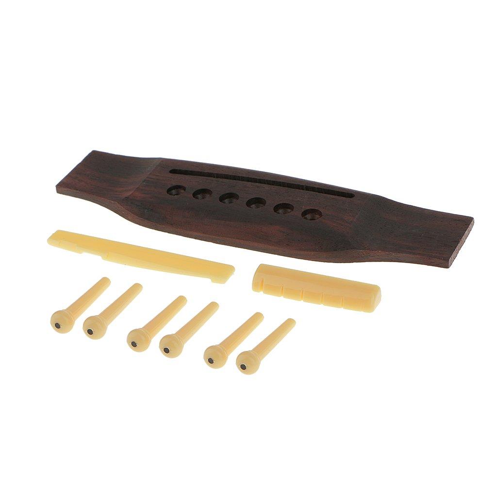 Jili Online 1 Set Acoustic Guitar Wood Bridge & End Pins & Saddle Nut Parts Replacement