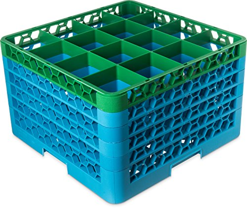 (Carlisle RG16-5C413 OptiClean 16 Compartment Glass Rack with 5 Extenders, 11.9