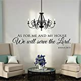 trdziw Vinyl Wall Decal Wall Stickers Art Decor Peel and Stick Mural Removable Decals As For Me And My House we will serve the lord for living room
