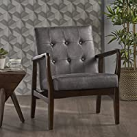 Conrad Mid Century Modern Arm Chair in Slate Micro Fiber
