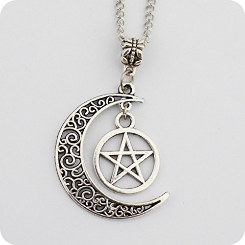 Silver Pentagram and Crescent Moon Pendant - Wiccan Jewelry, Pentacle Necklace, Pentagram ()