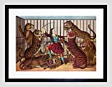PAINTING PORTRAIT CIRCUS ANIMALS UNKNOWN LION QUEEN FRAMED ART PRINT B12X3992