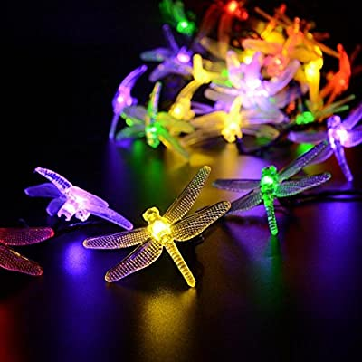 LAFEINA Outdoor Solar String Lights Dragonfly, LAFEINA 19.7ft 30 LED Waterproof Fairy Landscape Decorative Lighting for Gardens, Patio, Yard, Wedding, Christmas, Party Decorations