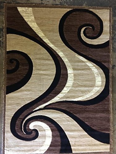 Americana Modern Area Rug Contemporary Beige Brown Black Design 144 (6 Feet X 9 Feet)