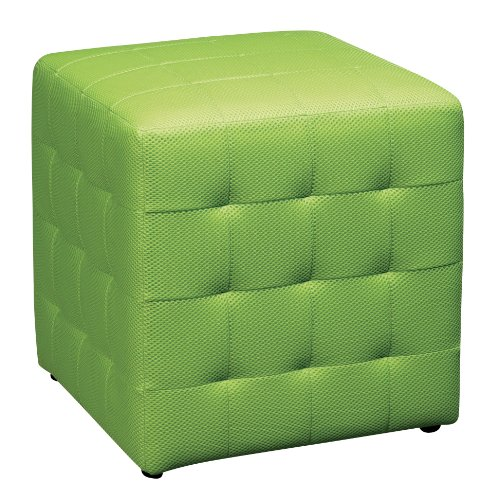 Office Star Detour 15-Inch Mesh Fabric Cube Ottoman, Green