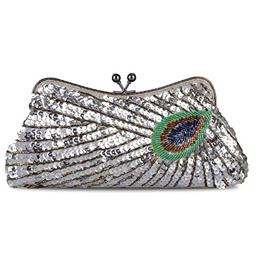 Clutch Purse Peacock Women's Beaded Sequins E Bag Embroidery Rhinestone Evening 0aHW08