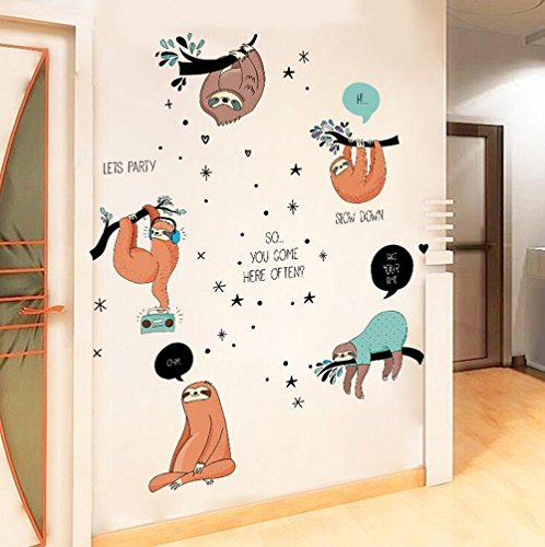 Winhappyhome Sloth Wall Art Stickers ...