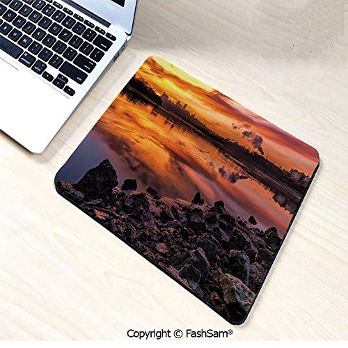 Desk Mat Mouse Pad USA Missouri Kansas City Scenery of a Sunset Lake Nature Camping Themed Art Photo for Office(W7.8xL9.45)