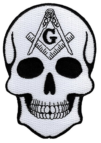 Masonic Skull Patch Head Iron On Embroidered Freemason Mason G Square Compass