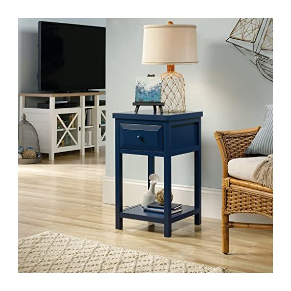 Sauder Cottage Road Side Table, Indigo Blue finish - Drawer features metal runners and safety stops Open shelf for additional storage Indigo Blue finish - nightstands, bedroom-furniture, bedroom - 51lpSMCG1pL. SS570  -
