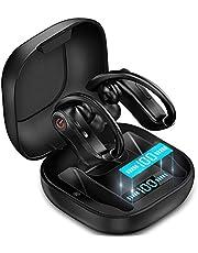 Auriculares inalámbricos Bluetooth 5.0 True Wireless Sport Auriculares integrados con micrófono en el oído para correr con ganchos para los oídos Funda de carga compatible con iPhone 11 Pro Max XS XR Samsung Android