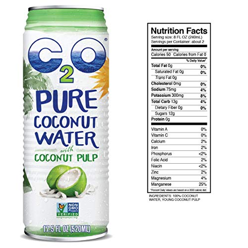 C2O Pure Coconut Water with Pulp | Plant Based | Non-GMO | No Added Sugar | Essential Electrolytes | 17.5 FL OZ (Pack of 12) 8