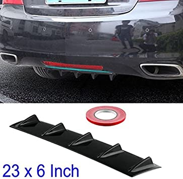 "Shark Fin 5 Wing Lip Diffuser 23/"" x6/"" Rear Bumper Chassis Black ABS  Universal"