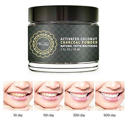 Teeth Whitening Powder, 2FL OZ Organic Bamboo Activated Charcoal Powder Teeth Whitener, Safety Tooth Powder to Remove Coffee, Tea, Wine and Tobacco Stains, Food Grade Powder
