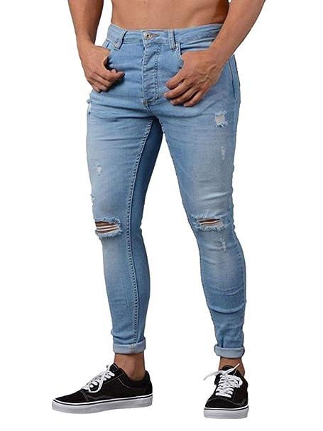 Tomwell Herren Jeans Slim Fit Basic Skinny Hose Mode Casual Destroyed Denim Strech Jeans Männer Zerrissen Denim Freizeithosen