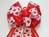 Red White Valentine Wreath Bow Red Valentine Heart Wreath Door Bow Valentine White Red Heart Wedding Pew Bow Valentine Gift Bow Valentine Swag Bow