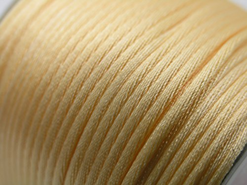 U PICK Wholesale Multi-colors 2 Roll 100 Yards 2.0mm Rattail Satin Silk Cord Chinese Knot Beading Cord (08 Beige)