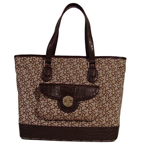 DKNY Signature Turn Lock Large Travel Tote Bag Handbag (Chino / Brown)