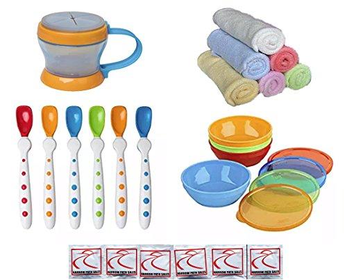 Gerber NUK Baby Food Utensil Convenience Set - Spoons Bowls Snack Catcher Washcloths Bundle of 4