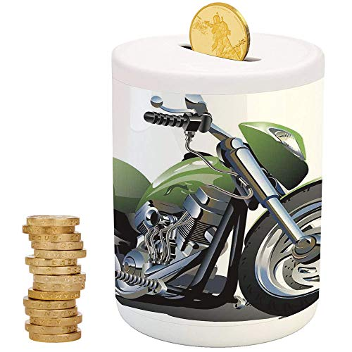 Motorcycle,Ceramic Baby Bank,Printed Ceramic Coin Bank Money Box for Cash Saving,Motorcycle Design with Fancy Supreme Gears and Metal Tires Action Urban - Transformer Metal Lunch Box