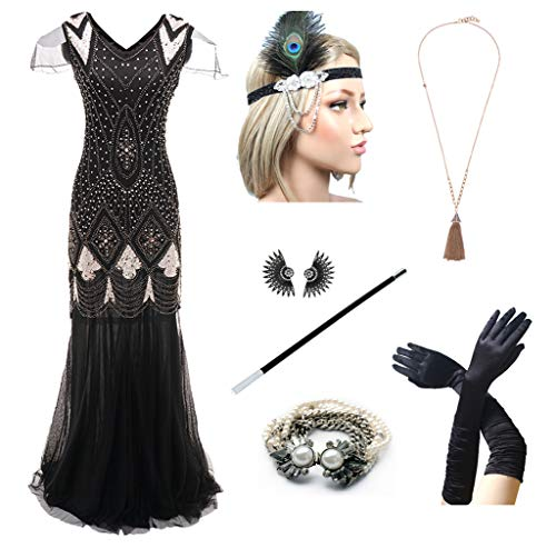 1920s Women's Gatsby Costume Flapper Dresses V Neck Long Dress with 20s Accessories Set of 7 Black -