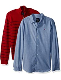 Big Boys' Two Piece Sweater and Chambray Shirt Set