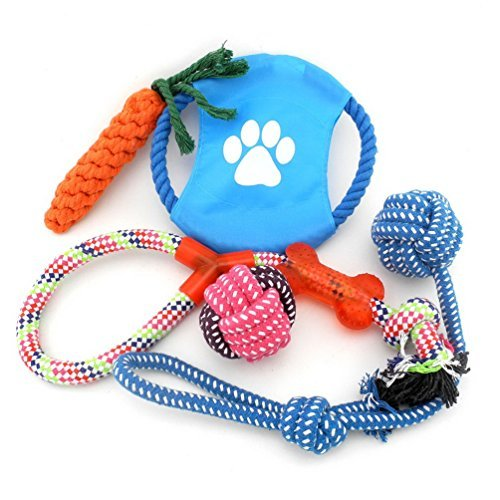 SMALLLEE_LUCKY_STORE XCW0019 Various Cotton Rope Interactive Toys Collection for Dogs, Multicolor, Medium by SMALLLEE_LUCKY_STORE