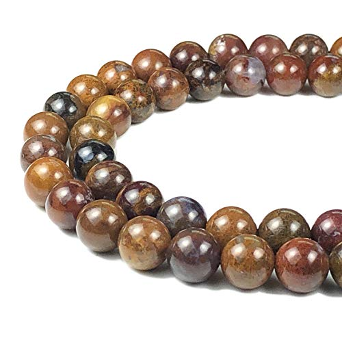 [ABCgems] Mexican Aqua Nueva Agate (Exquisite Matrix) 8mm Smooth Round Beads for Beading & Jewelry Making