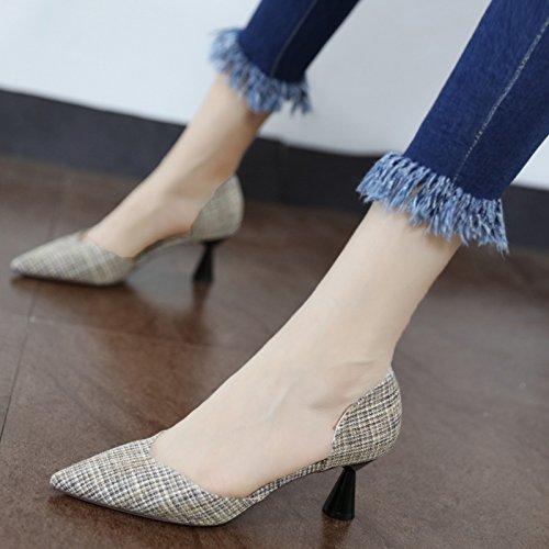 Xue Qiqi Tipp video dünn dick mit hochhackigen Licht Schuhe mit seitlichen Luftdüsen im Licht hochhackigen der einzigen Schuhe und Vielseitig d4bab8