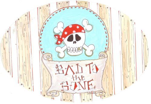 The Kids Room by Stupell Bad to the Bone with Skull Oval Wall Plaque