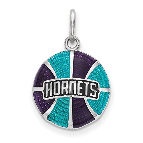 925 Sterling Silver Rhodium-plated LogoArt NBA Charlotte Hornets Enameled Basketball Charm Pendant