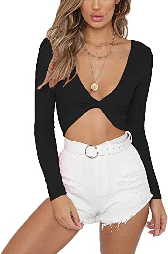 Hioinieiy Women/'s Summer Casual Deep V-Neck Long Sleeve Crop Tops Ribbed Tie Front Cute Tight Shirts