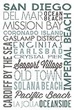 San Diego, California - Green Typography (12x18 Art Print, Wall Decor Travel Poster)