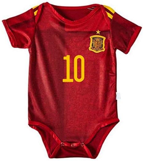 PAOFU-Equipo de Fútbol de España # 10 Thiago Body de Bebé Niño (6~12 Meses, 12~18 Meses): Amazon.es: Deportes y aire libre