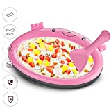 Mini Frozen Yogurt Instant Ice Cream Maker Pan for Kids DIY Fun Ice Plate for Ice Cream Rolls (Pink)