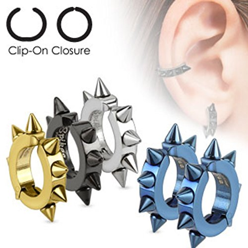 - Oval Hoop Pair of 316L Surgical Stainless Steel IP Non Piercing WildKlass Ear Cuff Clip On Ear WildKlass Rings with Spikes (Sold as a Pair)