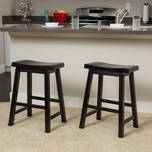 Denise Austin Home Toluca Saddle Wood Counter Stool