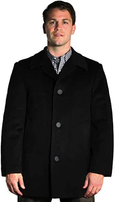 StoutMensShop Big and Tall Luxury Wool Blend Car Coat to 7XLT