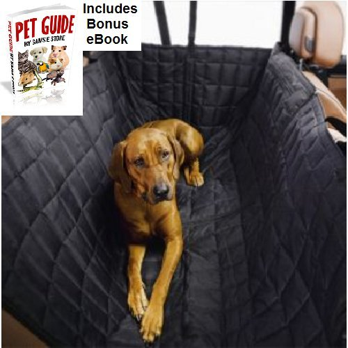 Quilted Dog Car Seat Cover Water-Repellent Polyester Insulated Thick Comfortable Safe Easy Use