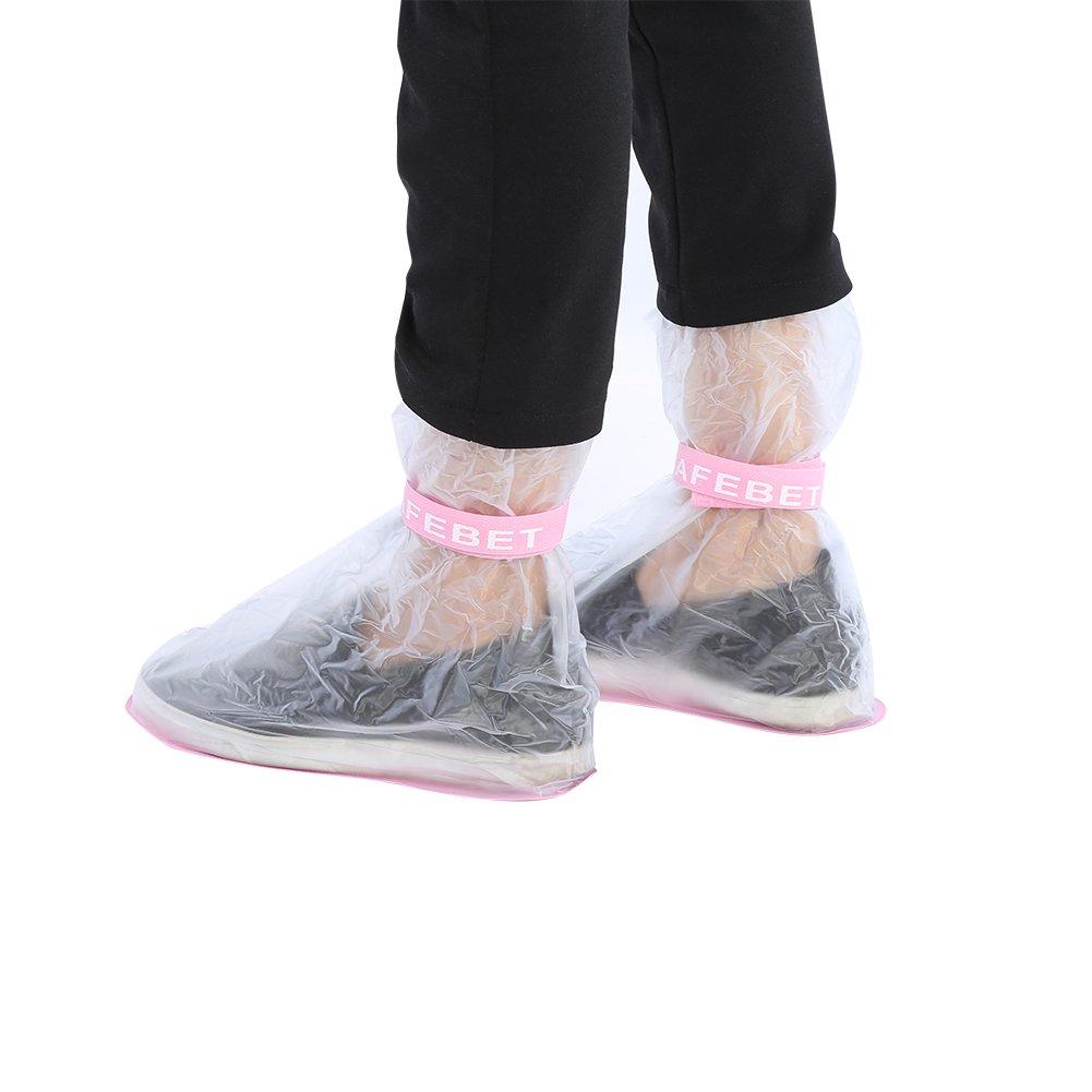 GLOGLOW SAFEBET Kids Children PVC Reusable Rain Shoes Boot Cover Anti-Slip Waterproof Overshoes Pink