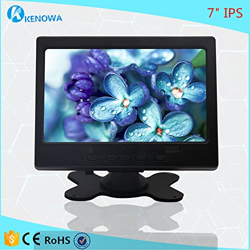 Kenowa Portable 7 inch 1024x600 IPS HD Screen Monitor, for Raspberry Pi 3,  Security Camera, HDMI VGA AV Audio Input, Build in Speaker (7