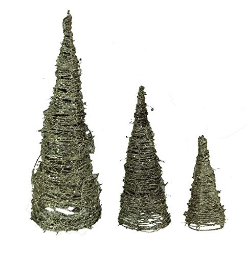 Cone Tree Set - PD Home & Garden Silver Sparkle Glitter Spiral Twig Cone Trees Set of 3