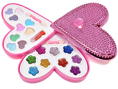 Kids Washable Makeup Set, Pretend Beauty Fashion Kit for Girls-Deluxe Vanity Includes Non-Toxic Real Makeup, Blush, Lip Gloss, Glitter Eye Shadow, Lipstick, Brushes, Nail Polish & Mirror Cosmetic Case