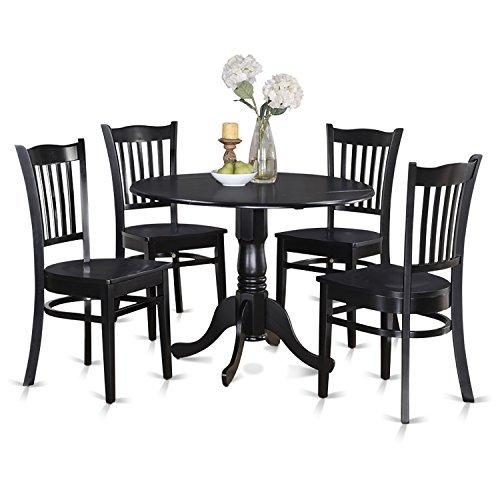 5 Piece Black Pedestal - East West Furniture DLGR5-BLK-W 5-Piece Kitchen Table Set, Black Finish, Wood Seat