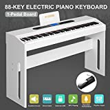LAGRIMA 88 Key Music Electric Digital LCD Piano Keyboard W/Pedal Board (White)