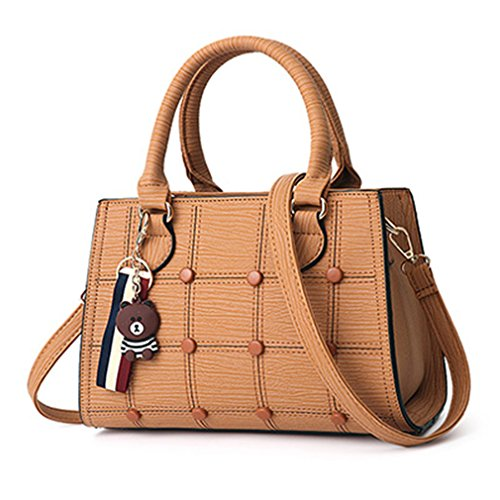 KCNSJ Women Leather Handbag Ladies Messenger Bag Female Shoulder Bag Pure Color Handbag With Pendant Yellow Brown 28cm x 20cm x 14cm
