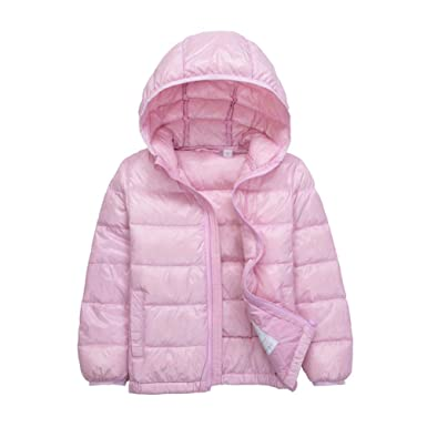 02805f0f1 ZKOOO Kids Down Jacket Hood Lightweight Short Puffer Jackets Girls ...