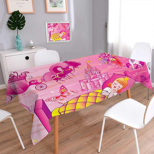 L-QN Waterproof Spill Proof Tablecloth Decor Collection Princess Sleeps in Bed Fairytale Butterfly Flower Bouquet Horse Unicorn Image for Picnic, Outdoor or Indoor Party use 60